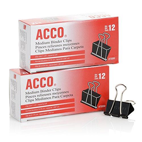 ACCO Binder Clips, Medium, Black, 12 per Box, 2 Boxes (72062)