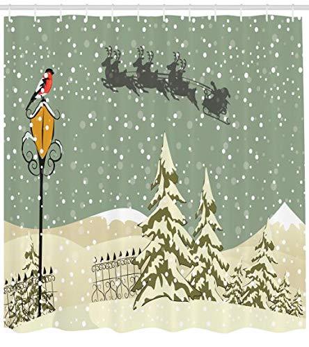 ABAKUHAUS Weihnachten Duschvorhang, Santa mit Silhouette, mit 12 Ringe Set Wasserdicht Stielvoll Modern Farbfest & Schimmel Resistent, 175 x 200 cm, Olivgrün-braun & grau