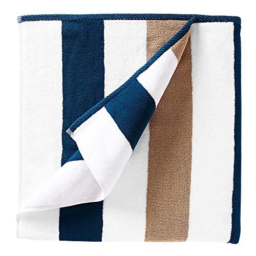 Oversize Plush Cabana Towel by Laguna Beach Textile Co   1 Classic, Beach and Pool House Towel… (Ocean Blue & Almond)