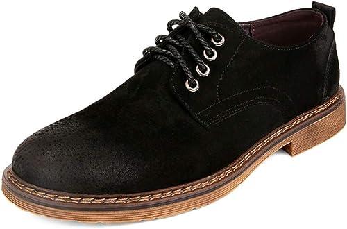 SCSY-Chaussures Oxford Botte de sécurité pour Hommes Hommes Forte antidérapante en Cuir suédé Chaussures à Talons Hauts et Talons Bas voluptueux (Couleur   Noir, Taille   38 EU)  promotions passionnantes