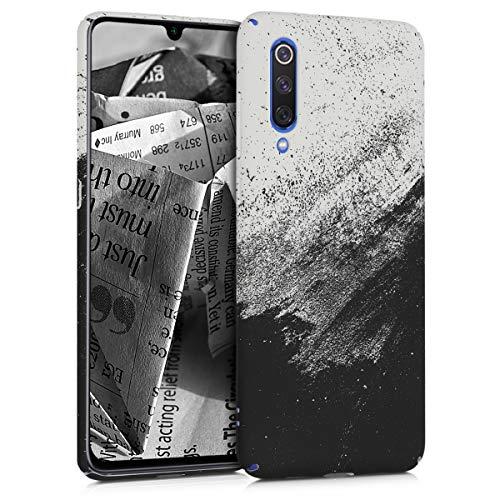 kwmobile Funda Compatible con Xiaomi Mi 9 - Carcasa Trasera para móvil - Cover Duro Tinta en Blanco y Negro