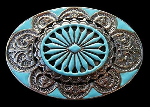 Turquoise Cheap Flower Classic Hippie Western Sacramento Mall Fashion Cowgirl Buc Belt