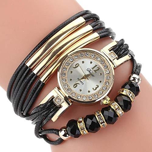 DMXYY-Mode Uhren- Ledergürtel Strass-Kreis-Armband-Quarz-Uhr for Frauen (schwarz). (Color : Black)
