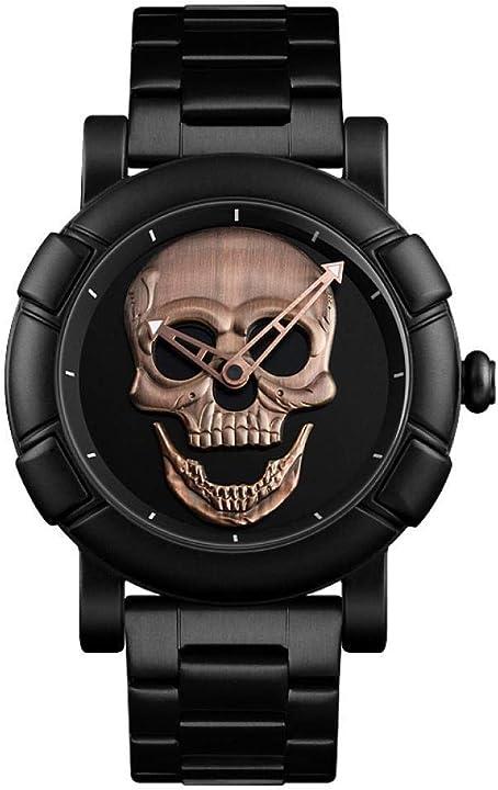 Orologio da polso ourui al quarzo personalizzato con teschio tridimensionale con quadrante ouruinb.co-3136