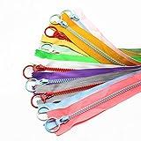YaHoGa 10 piezas 25 cm 5# Plástico cremalleras bicolor Resina cremalleras para DIY Costura Manualidades bolsas ropa (1 pieza cada color) (25cm 10 piezas)