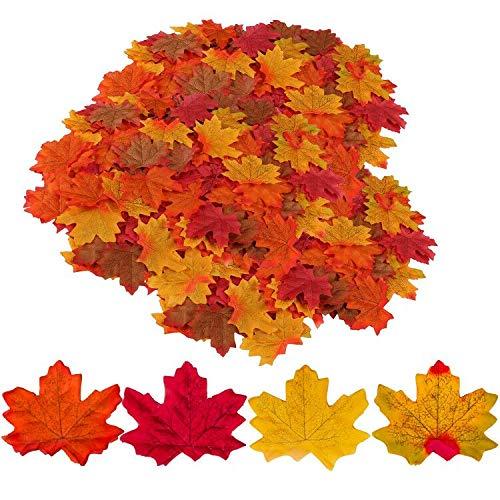 GiBot 400 Stück sortierte farbige Ahornblätter künstliche Herbstkunst Ahornblätter Tischdeko für Halloween, Thanksgiving, Hochzeiten, Zuhause, Innen- und Außendekoration