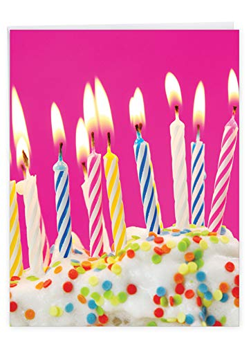 Extra Large Bday Greeting Card With Envelope 8.5 x 11 Inch - 'Birthday Candles Card' for Her Girlfriend, Sister or Mother - Sprinkled Icing Cake with Vibrant Colorful Candles on Top J6555ABDG