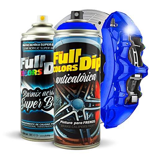 Kit Pintura para Pinzas de Freno Super Brillo en Spray 400ml (x1 Spray Pintura + x1 Spray Barniz Brillo) - Fácil aplicación - Acabado Profesional (11 Colores a Elegir) (Azul Oscuro)