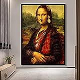 Minimalismo de estilo nórdico, póster de Mona Lisa, arte de pared, lienzo impreso, pintura Mona Lisa, cuadros modulares, sala de estar, decoración moderna del hogar 30x45 CM (sin marco)