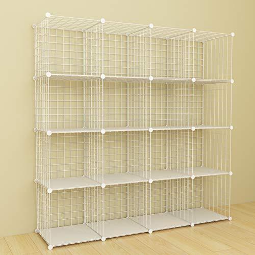SIMPDIY Organizer Armadio Metalli, libreria a 16 cubi Rete, ripiano portaoggetti Singolo Grande capienza, librerie scaffale componibile,124x32x124cm,Bianca.