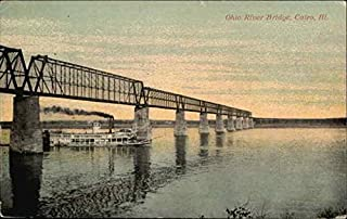Ohio River Bridge Cairo, Illinois IL Original Vintage Postcard 1914