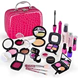 JOANNE LEE Pretend Kids Makeup Kit for Little Girls Princess, 21 Pcs Toddler Face Paint Play Game Makeup Beauty Toy Set with Cosmetic Kit Bag Purse for Birthday Party Dress Up Gift(Not Real Makeup)