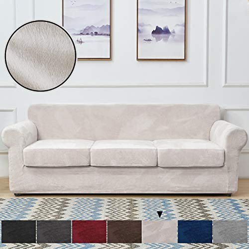 RHF Velvet Couch Cover 4 Piece Sofa Cover Sofa Slipcover-Couch Covers for 3 Cushion Couch,3 Separate Cushion Cover, Sofa Covers for 3 Cushion Couch,Couch Covers for Dogs(Sofa,Beige)