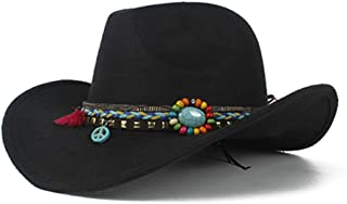 SHENTIANWEI Retro Men Women Authentic Western Cowboy Hat Wool Trilby Hat Sombrero Hat Bowler Hat Size 56-58CM