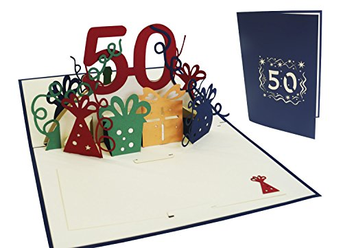 Lin Pop Up Greeting Card for 50th Birthday, Birthday Card Greeting Card–Birthday Cards