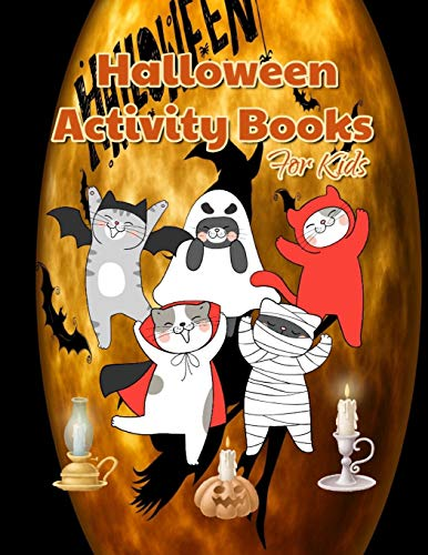 Halloween Activity Books For Kids: A Fun Scary Coloring Pages, Mazes Games, Word Search and Sudokus Cases (8.5x11 Inches Happy Halloween books )