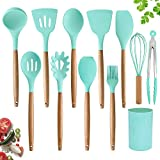 Silicone Cooking Utensils Set by AQLJ3K – 11 Pieces Natural Wooden Handles Kitchen Cooking Tools with Spatulas for Non Stick Cookware – Silicone Kitchen Utensil Set and Heat Resistant Spatulas