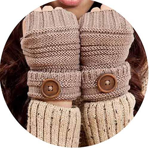 Small-shop Winter Gloves Gants d'hiver en Tricot Doux et Chauds pour Homme et Femme Couleur Unie, Femme, G078 Khaki, Taille Unique