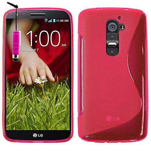 VComp-Shop® S-Line - Custodia protettiva in silicone TPU per LG G2 D802 + mini pennino capacitivo, colore: Rosa