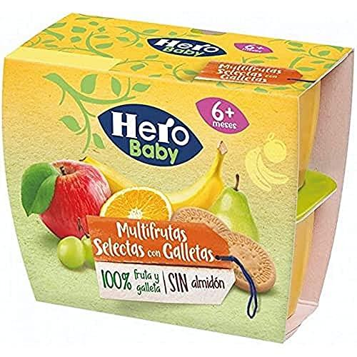 Hero Baby Tarrinas Multifrutas selecas con Galleta - 6 Packs de 4x100gr
