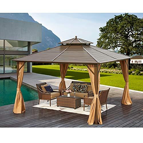 MELLCOM 12' x 12' Hardtop Gazebo Galvanized Steel Outdoor Gazebo Canopy Double Vented Roof Pergolas...