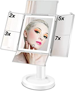 Lighted Makeup Mirror with 34 LED Lights, 2X 3X 5X 7X Magnification Quad-Fold Makeup Vanity Mirror, Natural Daylight Dual Power Supply (White)