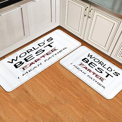 YOUMEISU Non-Slip Kitchen Rugs Cushioned Anti Fatigue Comfort Runner Mat for Floor Rug,Father's Day World's Best Farter I Mean Father Funny Gift,Doormat Foam Mat Dirt-Resistant Floor Rug Area Rugs