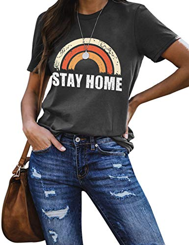 Blooming Jelly Womens Rainbow Graphic T Shirts Stay Home Short Sleeve Casual Cute Tops Tee(S,Grey-2)