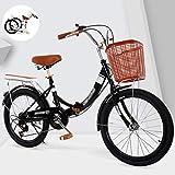 Bicicleta Plegable para Hombres y Mujeres, Bicicleta Retro de Ciudad con Frenos de Disco Dobles de Velocidad Variable para Trabajo Ligero con Luces Traseras y Canasta para Automóvil(20/22/24 Pulgada
