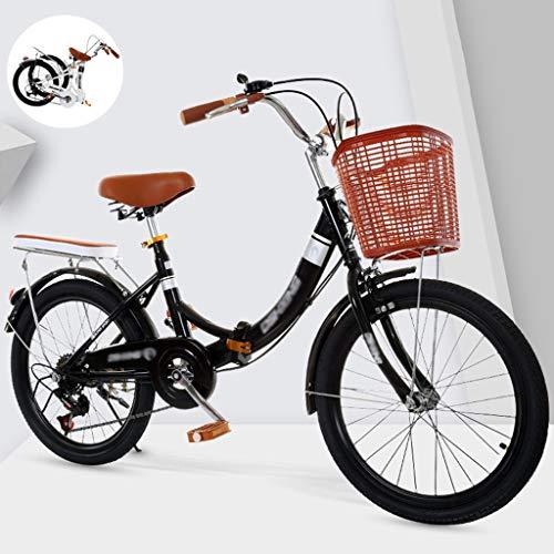 YYSD Faltbares Fahrrad für Männer und Frauen, Leichte Arbeit Doppelscheibenbremsen mit Variabler Geschwindigkeit City Retro Bike mit Rücklicht und Autokorb (20/22/24 Zoll)