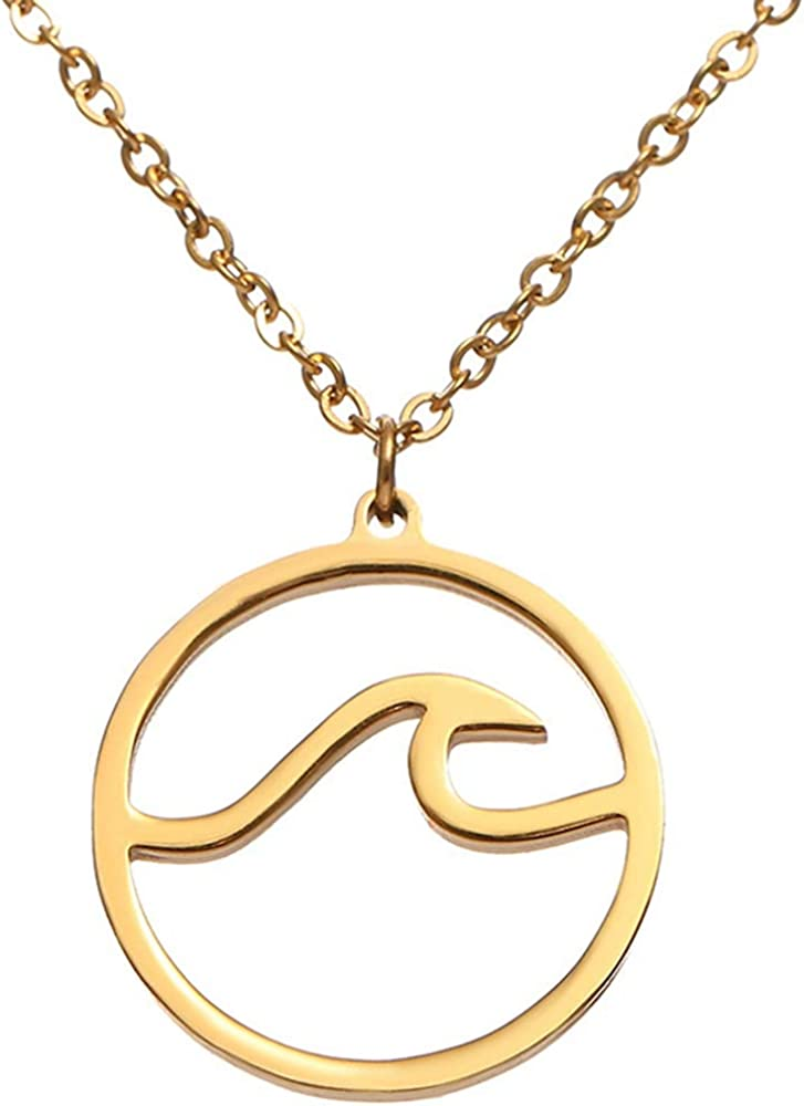 Stainless Steel Sea Ocean Wave Statement Collar Holiday Vacation Pendant Necklace