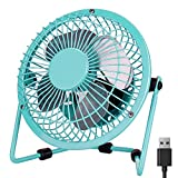 Desk Fan USB, PEYOU 4'' USB Portable Mini Fan-3.9 ft USB Cable-Personal Metal Table Fan USB Small Quiet Fan, Desktop cooling fan-360° Adjustable Operation Fan for Office,Home,Traveling (Mint Green)