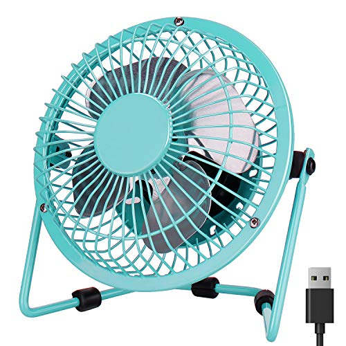Desk Fan USB , PEYOU 4'' USB Portable Mini Fan-3.9 ft USB Cable-Personal Metal Table Fan USB Small Quiet Fan, Desktop cooling fan-360° Adjustable Operation Fan for Office,Home,Traveling (Mint Green)