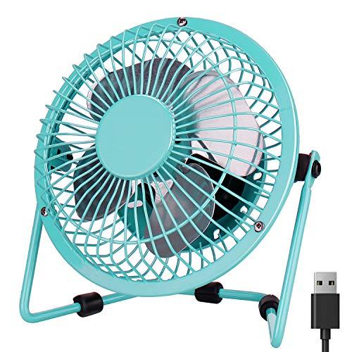 PEYOU Ventilador USB, Mini Ventilador USB Silencioso, Ventilador de Mesa USB, Portatil 360 ° Ajustable Ventilador para Oficina/Cochecito de bebé/Hogar/Viajes - Azul Claro