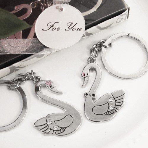 """Union of Love"" Swan Key Chain Set Wedding Favors - Set of 12"