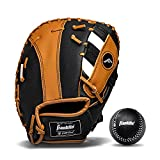Franklin Sports Teeball Glove - RTP Fielding Glove - Synthetic Leather Baseball Glove - Ready to Play Glove (RTP) - 9.5 Inch Right Hand Throw - First Base - Black/Tan with Ball