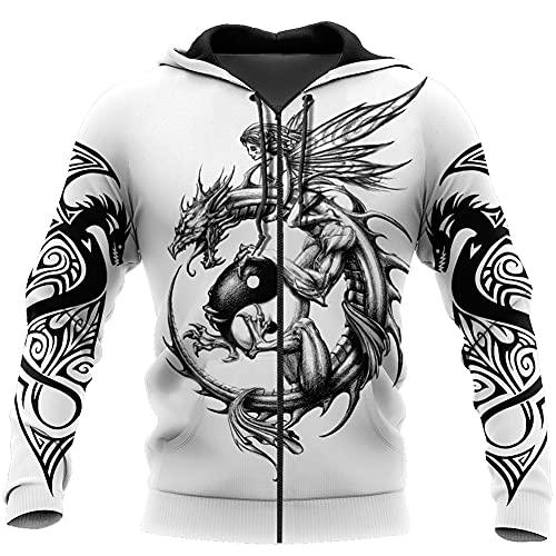 YOROOW Viking Nidhogg Tattoo Herren Hoodie 3D Druck Nordic Mythology Drache Langarm Sweatshirt Beiläufiger Übergroßer Pullover Harajuku Streetwear Jacket,Hoodie Zip,M