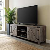 Pemberly Row 70' Farmhouse Barn Door Rustic Wood TV Stand Console with Storage in Rustic Gray Wash