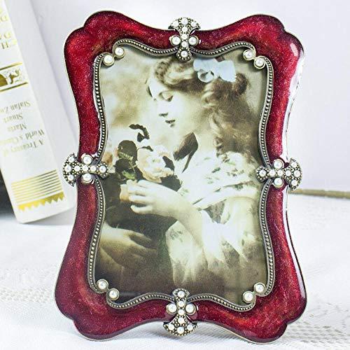 QKEMM Marco para Fotos Marco Formato de Imagen Recuerdo Marco De Metal Rojo Tamaño De Foto 10×10cm
