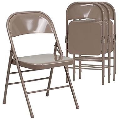 Flash Furniture 4 Pk. HERCULES Series Triple Braced & Double Hinged Beige Metal Folding Chair