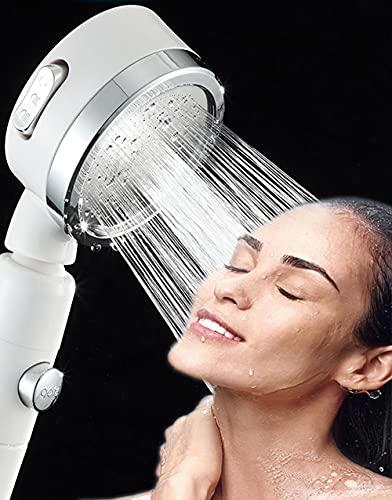 Soffione per doccia a mano con testina a risparmio d'acqua, rimovibile, con 3 regolazioni e pulsante di arresto dell'acqua, doccia ad alta pressione, testina universale per risparmio d'acqua