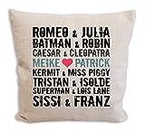 die stadtmeister Sofakissen für Paare mit Wunschnamen/z.B Meike & Patrick (BZW. Wunschnamen)