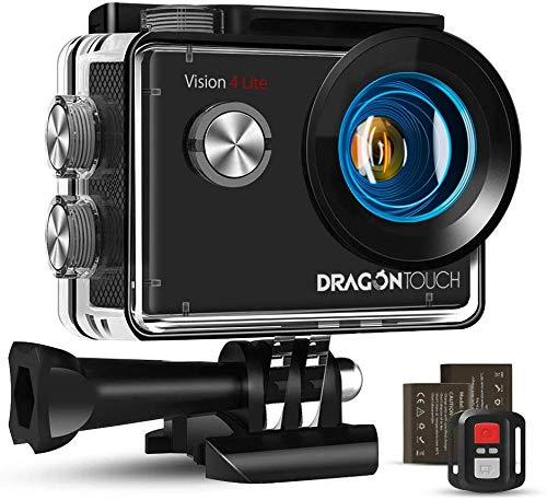 Dragon Touch 4k Cámara de Acción 20 MP EIS Vision 4 Lite Cámara Deportiva 100 Feet Impermeable con Mic Externo 170°Gran Ángulo de Wifi Cámara con Control Remoto, 2 Baterías Recargables 1050mAh Multi Accesorios