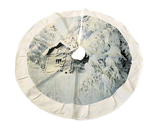zeitzone Weihnachtsbaumdecke Winter Berghütte Schnee Berge Christbaum-Unterlage Rund 84cm