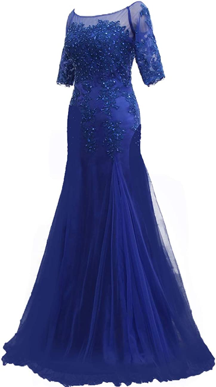 Mother of The Bride Dresses with Sleeves Evening Gowns for Women Formal Tulle Evening Dresses