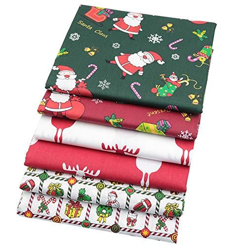 6 Stück Weihnachten Stil Fat Quarters Quilten Stoff Bundles, 46x56 cm Top Baumwollgewebe zum Quilten Nähen Patchwork, 18