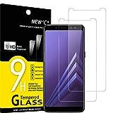NEW'C 2 Unidades, Protector de Pantalla para Samsung Galaxy A8 (2018), Antiarañazos, Antihuellas, Sin Burbujas, Dureza 9H, 0.33 mm Ultra Transparente, Vidrio Templado Ultra Resistente
