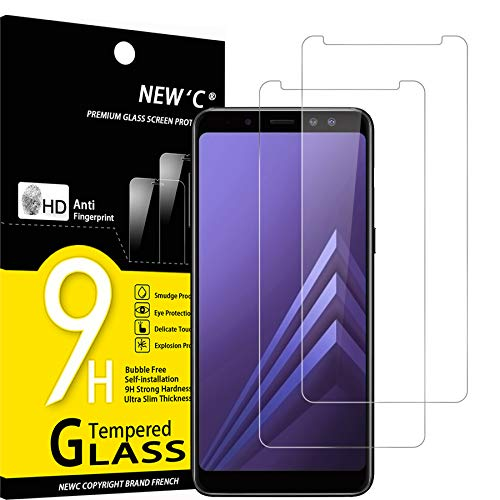 NEW'C Lot de 2, Verre Trempé Compatible avec Samsung Galaxy A8 (2018) Film Protection écran sans Bulles d'air Ultra Résistant (0,33mm HD Ultra Transparent) Dureté 9H Glass