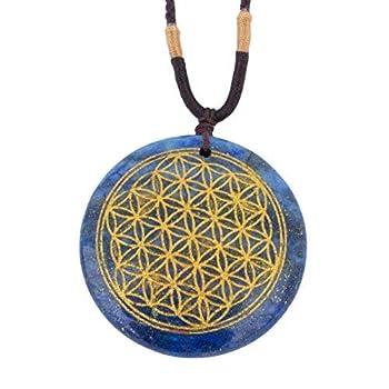 Ezina Designs Flower of Life Polished Gemstone Stone Amulet Pendant Lapis Lazuli Tigers Eye for Protection and Health  Lapis Lazuli