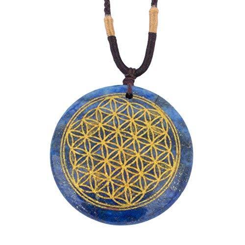 Price comparison product image Ezina Designs Flower of Life Polished Gemstone Stone Amulet Pendant Lapis Lazuli Tigers Eye for Protection and Health (Lapis Lazuli)